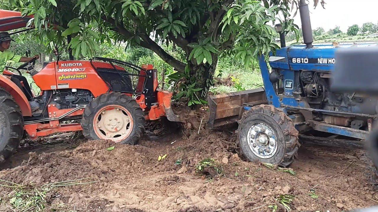 รถไถ vs ต้นมะม่วง 20 ปีเล่นฝ่ายแดงหรือน้ำเงินดี 555 🚜🚜😥