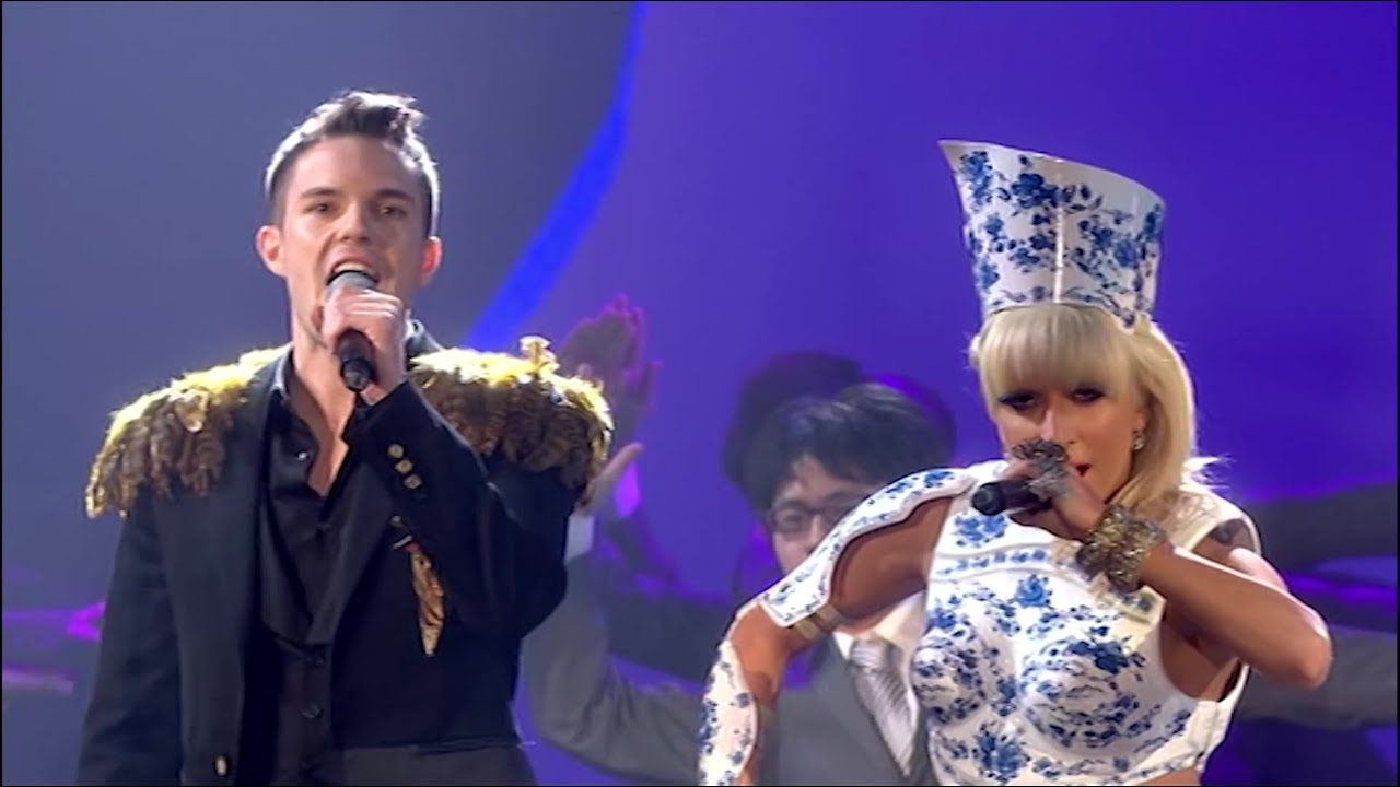 Lady Gaga performing with Pet Shop Boys and Brandon Flowers at the 2009 Brit Awards (HQ)