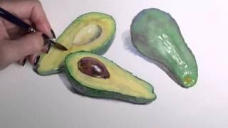 Пишем авокадо акварелью