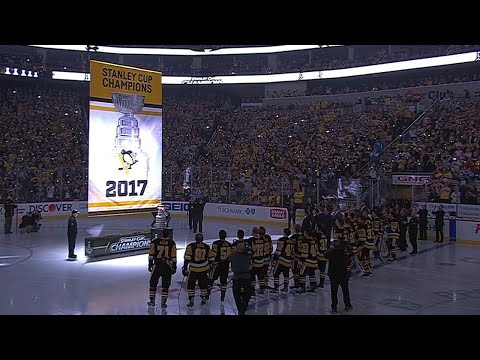 Penguins raise their fifth Stanley Cup banner