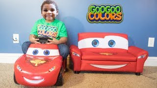 LIGHTNING MCQUEEN TURN INTO 10 COUCHES! LEARN TO COUNT TO 10 WITH GO GOO COLORS