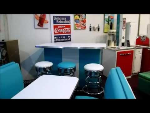 Custom Retro Home Bar and Diner Booth Set