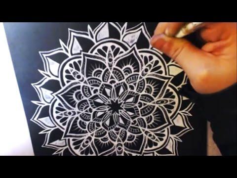 Gel Pen Art White Mandala On Black Paper Drawing Youtube
