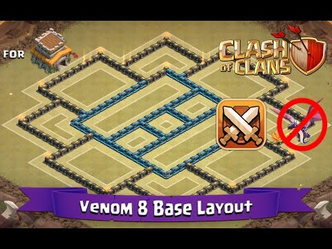 Clash Of Clans: TH8   BEST Clan War Base Layout (Anti-Dragon) - Venom 8