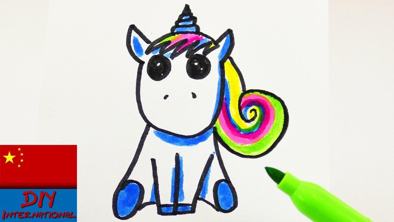 DIY 手工 制作 自制 超级 可爱 简单 简易 绘画 简笔画 彩色 水彩 彩虹 小马 独角兽 可爱 动物 迷你 展示 #1