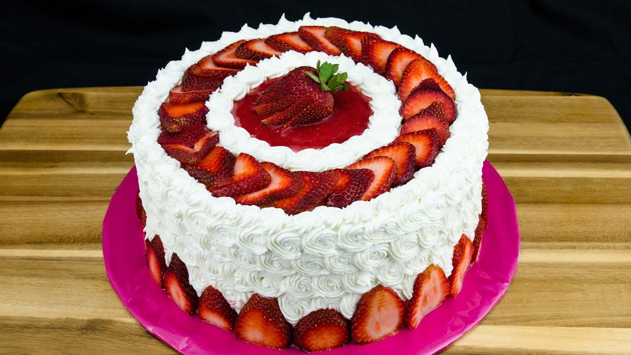 Strawberry cake recipe how to make strawberry cake by - How to slice strawberries for decoration ...