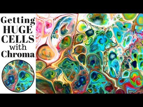 Fluid Art HUGE CELLS Using Chromacryl, XIM and Liquitex Pouring Medium