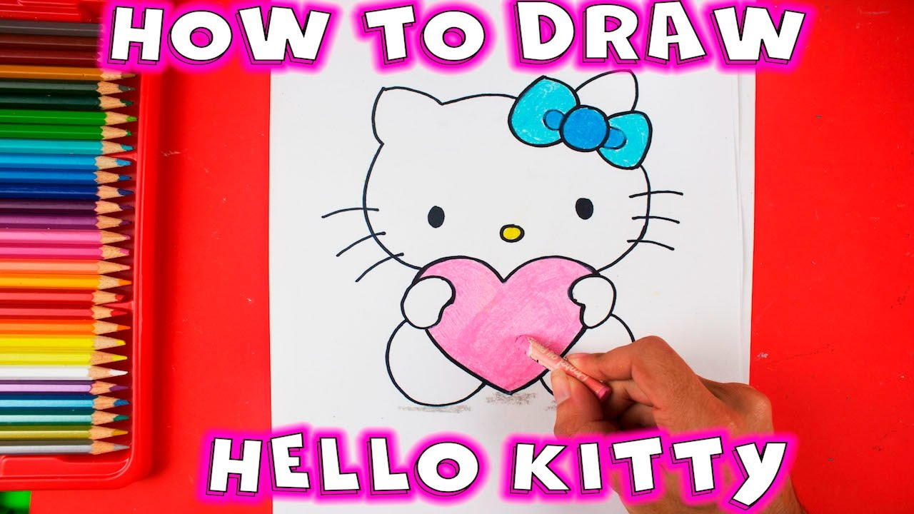 How to draw Hello Kitty with Love Heart - Easy Drawing ...