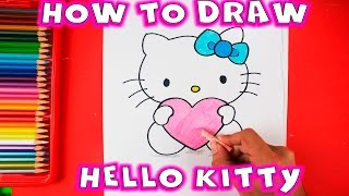 How to draw Hello Kitty with Love Heart - Easy Drawing Tutorial