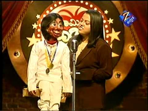 dinku singer  on comedy kiladigaly on zee kannada by ventriloquist indushree