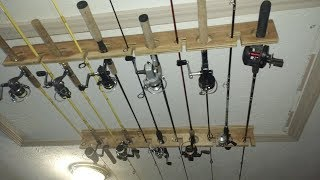diy ceiling mounted fishing rod rack