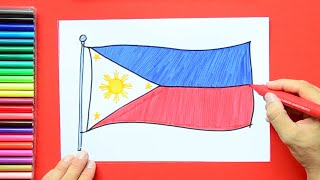 How to draw and color the National flag of Philippines