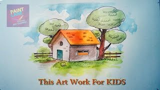 Learn How To Draw Cartoon House and Tree For KIDS | CHILDREN | BEGINNERS