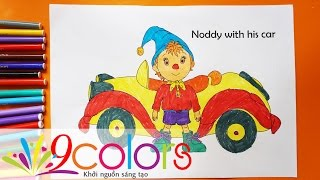 Tô màu Noddy và xe ô tô - Noddy coloring pages for kids