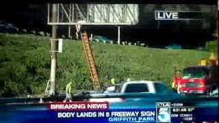 Man ejected from car UP into a Freeway sign on Highway 5 Los Angeles 10/15