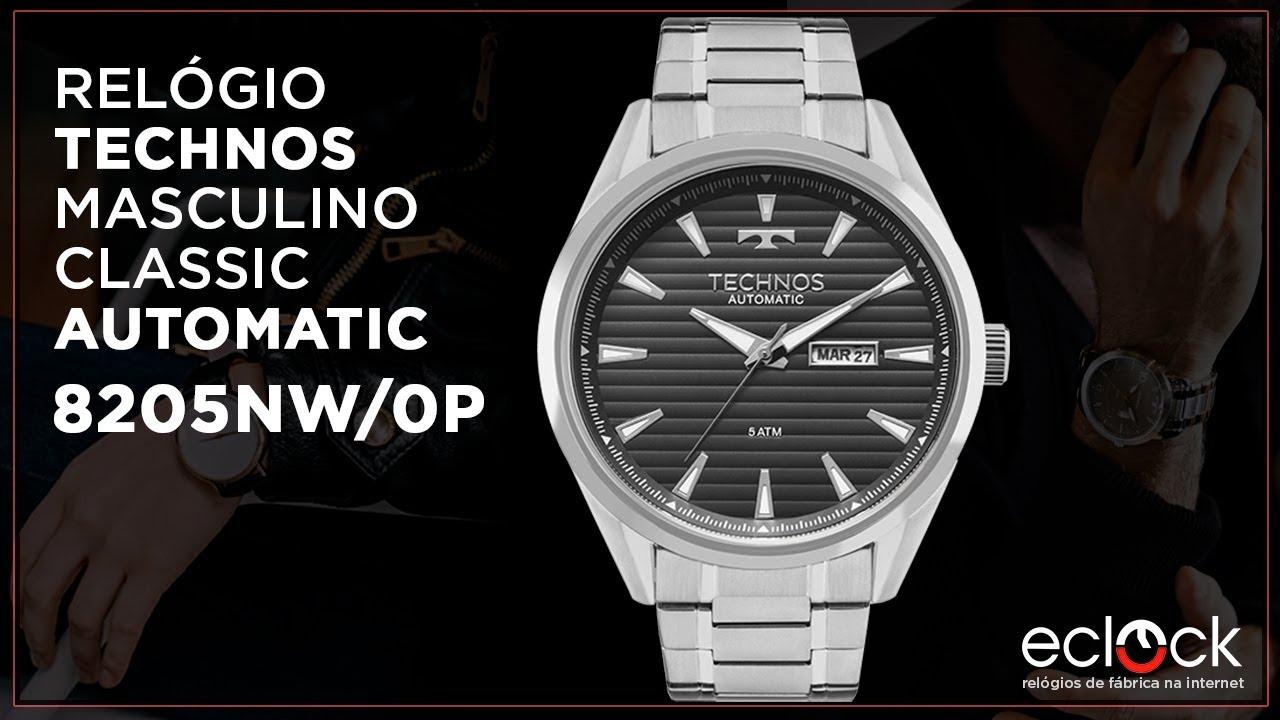 3c9f3a91933ad Relógio Technos Masculino Classic Automático 8205NW 0P - Eclock ...