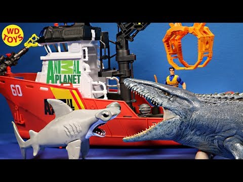 New Animal Planet Deep Sea Shark Research Playset Vs Mosasaurus Jurassic World Unboxing Youtube Kids