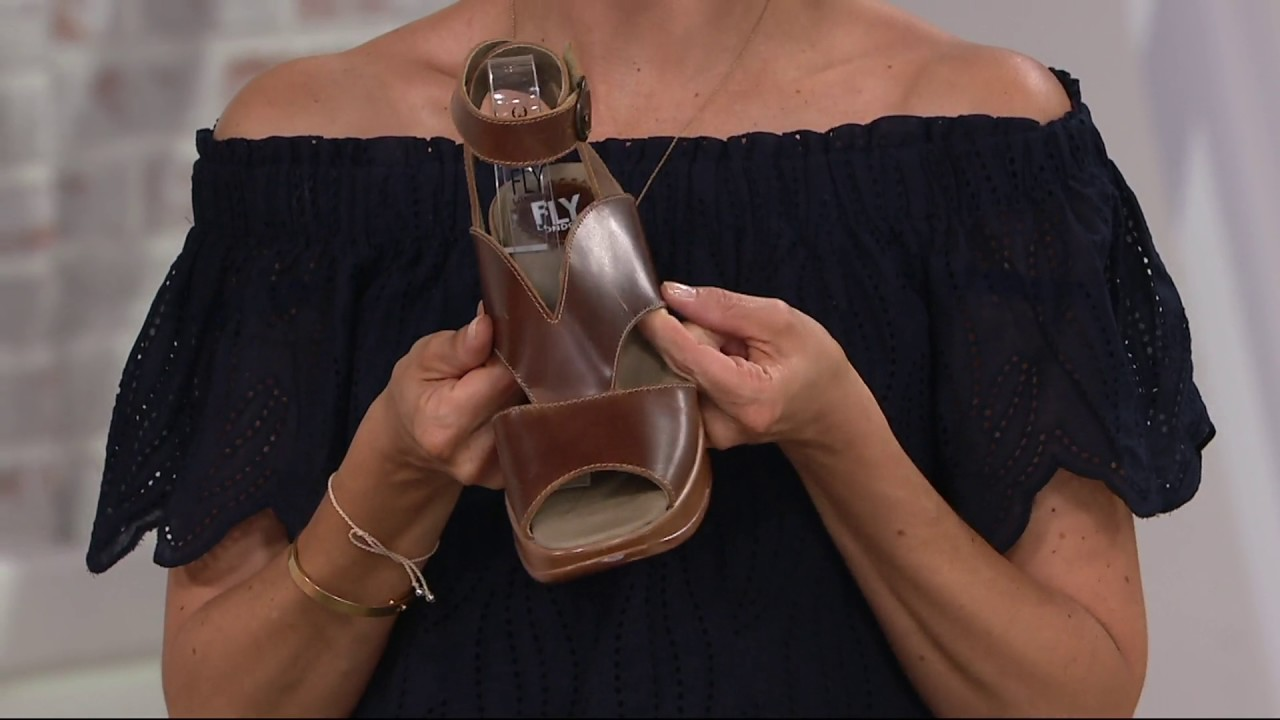 9d47e71af626 FLY London Leather Ankle Wrap Wedge Sandals - Hibo on QVC - YouTube