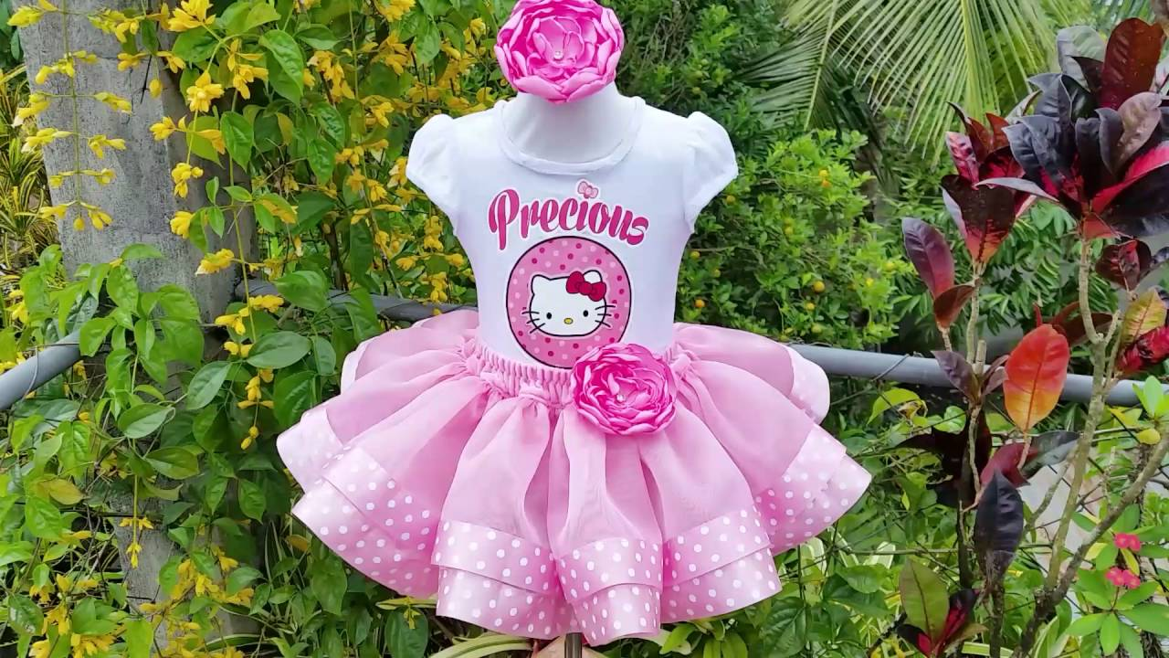 fbfcf12b5 Personalised Hello Kitty Ribbon Trim Birthday Outfit - YouTube