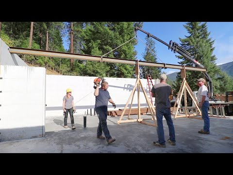 DON'T GET SQUISHED! (Placing Huge Steel Beam in Garage)