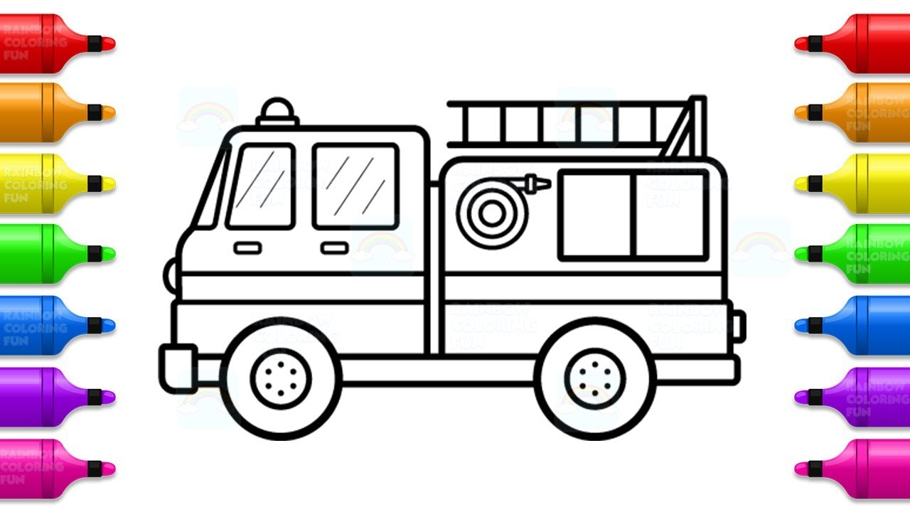 Fire truck Coloring with Markers - How to Draw and Paint ...
