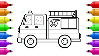Fire truck Coloring with Markers -  How to Draw and Paint Fire Truck Toy
