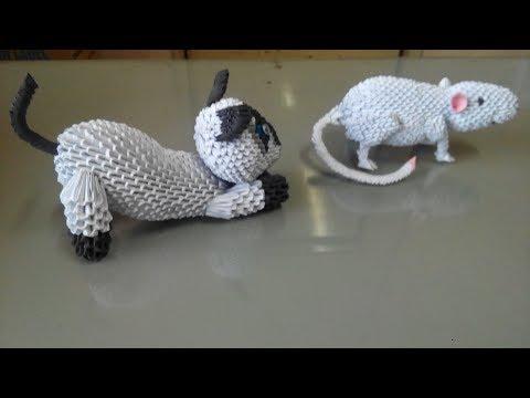 origami 3d siamese cat tutorial part 1 - easy