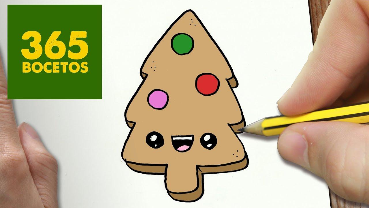 como dibujar un galleta arbol para navidad paso a paso dibujos kawaii navideos draw a cookie youtube