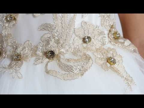 Ivory dress with gold lace and diamonds