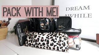 PACK WITH ME! Makeup, Toiletries, and Hair!!