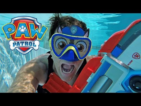 Swimming With My Paw Patrol Chase Mask Underwater !   Toy Review  Konas2002