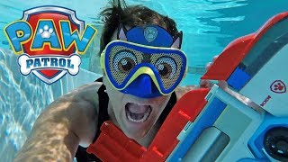 Swimming With My Paw Patrol Chase Mask Underwater !  || Toy Review || Konas2002