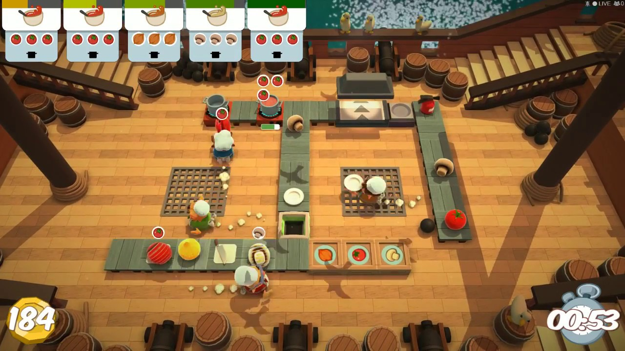 [Overcooked] 세 자매 + 형부가 함께하는 크리스마스 기념 광란의 요리!!