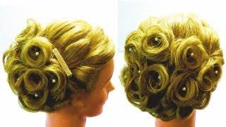 Свадебная прическа.Свадебная прическа на средние волосы.Wedding hairstyle  for medium hair(Подписывайтесь на канал с прическами на YouTube(Subscribe on my channel) http://www.youtube.com/user/LiliaLady777 Свадебная прическа.Вариан..., 2013-09-03T06:25:54.000Z)