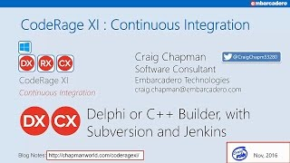 Continuous integration with SVN, Jenkins and DUnit (Delphi) with Craig Chapman - CodeRage XI