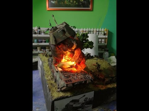 How to make an illuminated explosion on a diorama HD 1080p HD