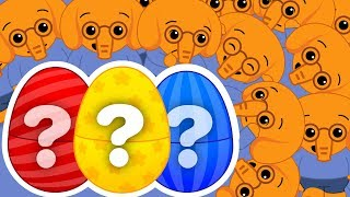 Huevos Sorpresa Gigantes de Elefantes para Aprender Colores & Canciones | Plim Plim
