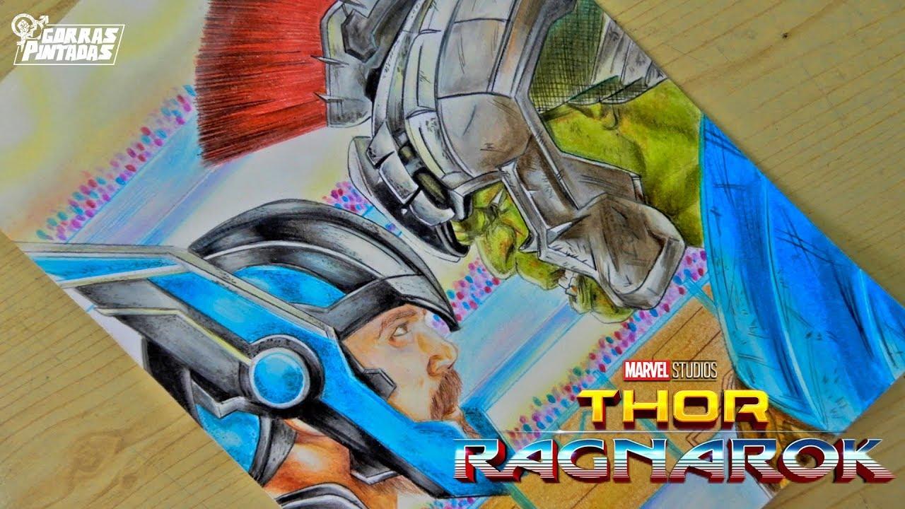Dibujando A Thor Y Hulk Thor Ragnarok Lápices Escolares Youtube