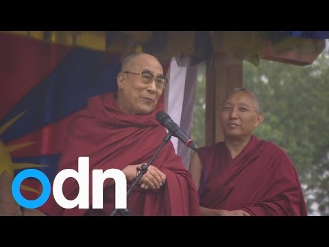 Dalai Lama makes a speech at Glastonbury Festival