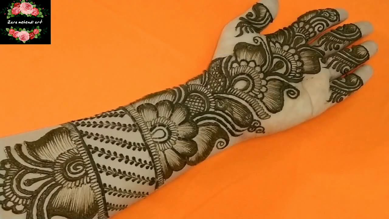 Rakhi Special||Easy Arabic Henna Design||Beautiful Shaded Front Hand Mehndi||#121 Zara Mehendi Art