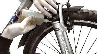 Как сделать мягче вилку на велосипеде, смазка вилки.(Мой ВК https://vk.com/id263241899 Полезные видео с моего канала, о ремонте велосипеда. 1) Задняя втулка колеса обслуживан..., 2015-05-11T16:12:12.000Z)