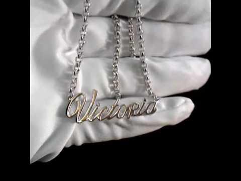 Подвеска кулон с именем Виктория из белого золота 585 пробы