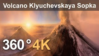 360°, Eruption of Volcano Klyuchevskaya Sopka, Kamchatka, Russia. 4K aerial video