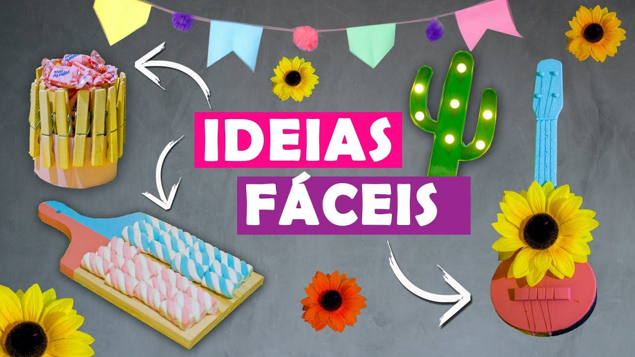 DECORA u00c7ÃO FÁCIL E BARATA PARA FESTA JUNINA! YouTube -> Decoração De Mesa Para Festa Junina Simples