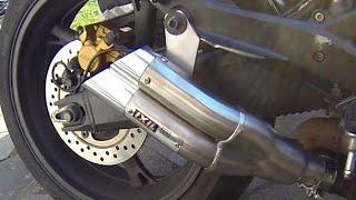 Honda CBR600F with aftermarket EXIL Hyperlow exhaust Double Gun/ Double Barrel review