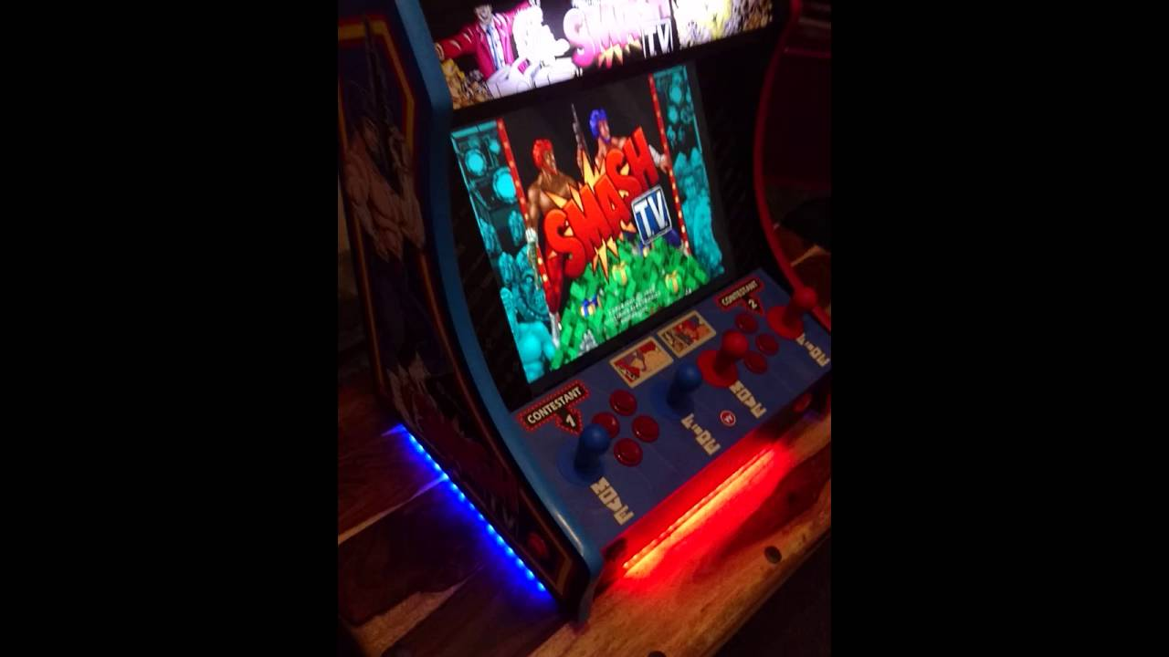 Custom Smash TV Bartop Arcade Cabinet With LED Underlighting