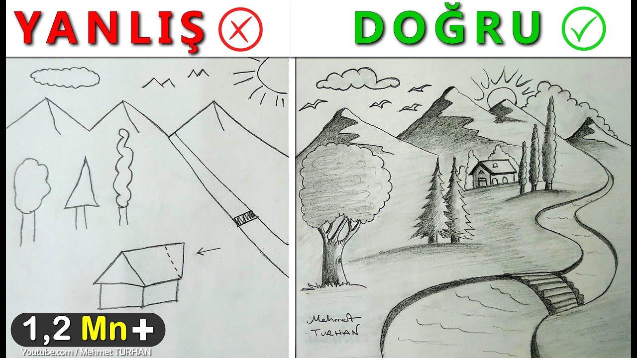 Resim çizerken Sıkça Yapılan Hatalar Nelerdir Manzara çizimi
