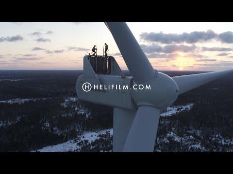 6739. Vindkraftverk (Wind Turbine) Drone Stock Footage Video
