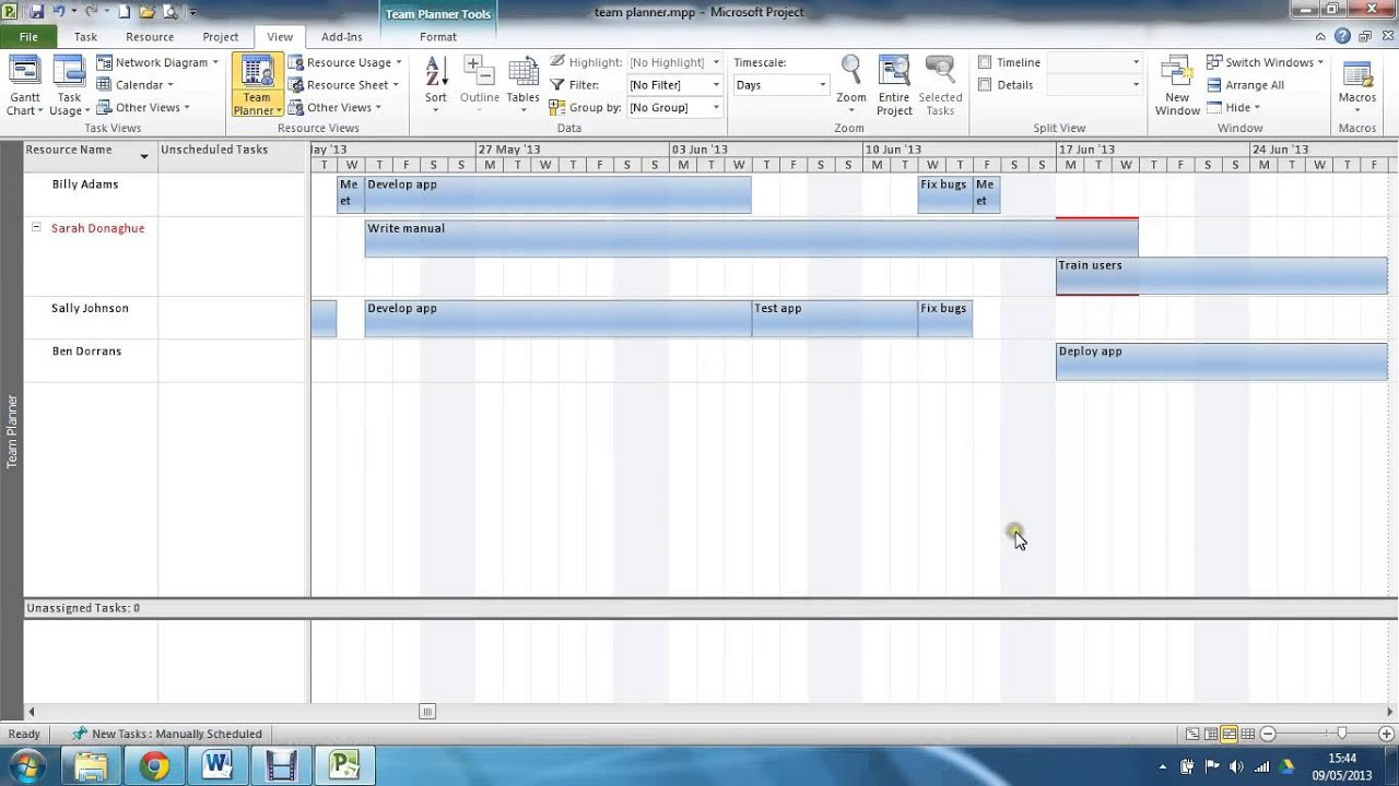 Using the Team Planner View in MS Project YouTube – Project Planners
