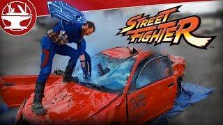Streetfighter: Captain America vs a CAR! (BONUS STAGE IN REAL LIFE)